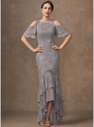 Trumpet/Mermaid Scoop Neck Asymmetrical Chiffon Lace Cocktail Dress With Cascading Ruffles