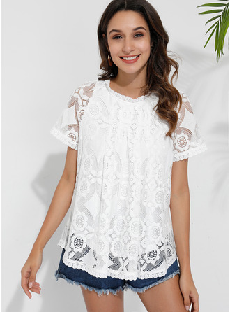 Short Sleeves Nylon Round Neck Blouses