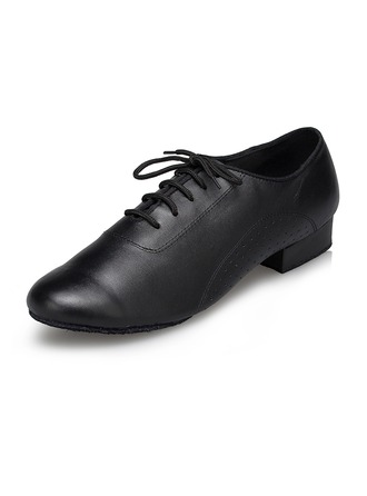 Men's Leatherette Flats Latin Modern Party With Lace-up Dance Shoes