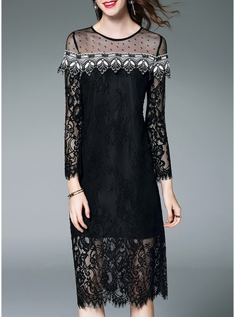 Lace mit Lace/Stitching/Hollow/See-through-Blick Midi Kleid