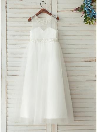 Floor-length Flower Girl Dress - Satin Sleeveless Scoop Neck With Beading