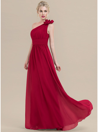 One-Shoulder Floor-Length Chiffon Bridesmaid Dress With Ruffle Flower(s)