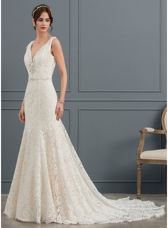 Trumpet/Mermaid V-neck Cathedral Train Lace Wedding Dress With Beading Sequins