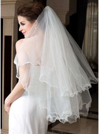 Two-tier Fingertip Bridal Veils With Scalloped Edge