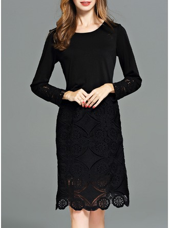 Polyester With Lace/Stitching/Resin solid color Knee Length Dress