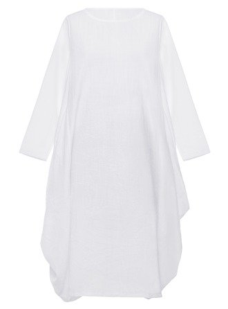 Cotton With Stitching Midi Dress