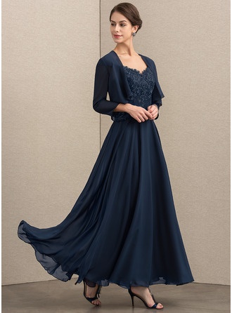 V-neck Ankle-Length Chiffon Lace Mother of the Bride Dress With Sequins