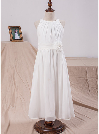 A-Line/Princess Tea-length Flower Girl Dress - Chiffon Sleeveless Scoop Neck With Flower(s)