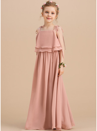 Floor-length Flower Girl Dress - Chiffon Sleeveless Square Neckline Straps With Ruffles
