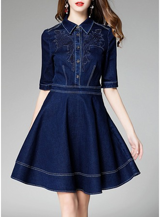 Denim With Embroidery Above Knee Dress