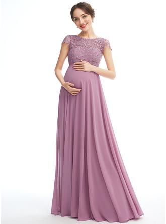 A-line Scoop Neck Floor-length Chiffon Lace Maternity Bridesmaid Dress With Pockets