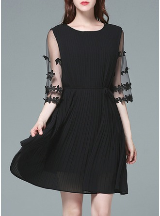 Polyester/Tulle With Stitching/Resin solid color Knee Length Dress