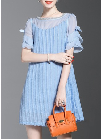 Polyester With Stitching/Ruffles Above Knee Dress