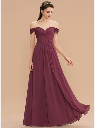 Off-the-Schulter Bodenlang Chiffon Brautjungfernkleid