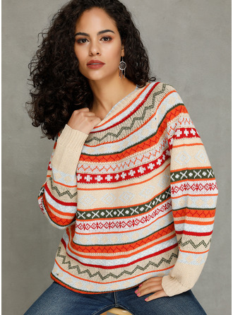 Print Chunky knit Polyester Round Neck Pullovers Sweaters