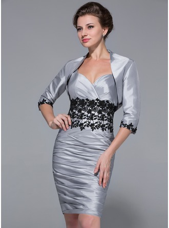 Sheath/Column Sweetheart Knee-Length Taffeta Mother of the Bride Dress With Ruffle Lace