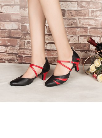 Women's Real Leather Heels Pumps Latin Modern Party Dance Shoes