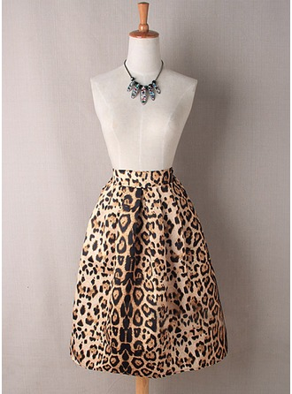 A-Line Skirts Knee Length Animal Print Polyester Skirts