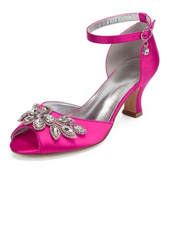Women's Silk Like Satin Chunky Heel Peep Toe Sandals MaryJane With Rhinestone