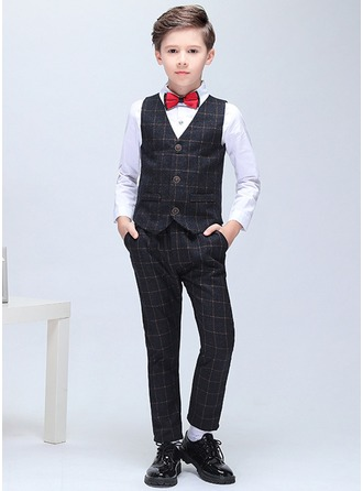 Boys 5 Pieces Elegant Ring Bearer Suits /Page Boy Suits With Jacket Shirt Vest Pants Bow Tie