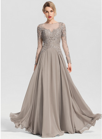 Scoop Neck Floor-Length Chiffon Prom Dresses With Beading Sequins