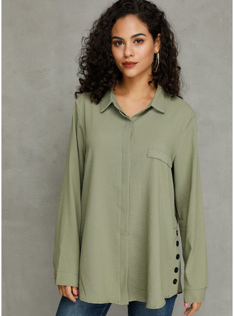 Long Sleeves Cotton Lapel Blouses
