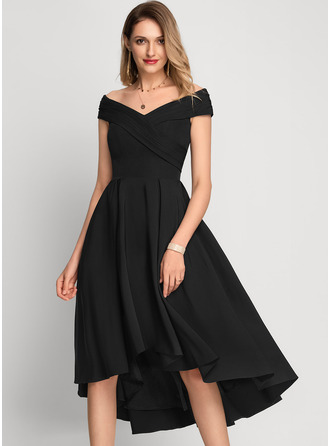 Off-the-Shoulder Asymmetrical Stretch Crepe Cocktail Dress