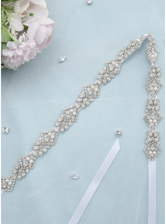 Polyester Sash With Rhinestones/Imitation Pearls