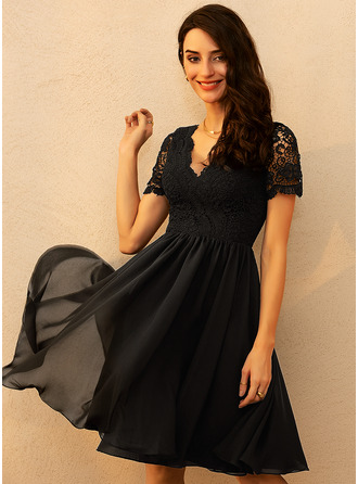Chiffon V-Neck Short Sleeves Midi A-line Dresses