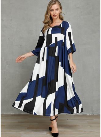 Acetate Fiber With Color-block Maxi Dress
