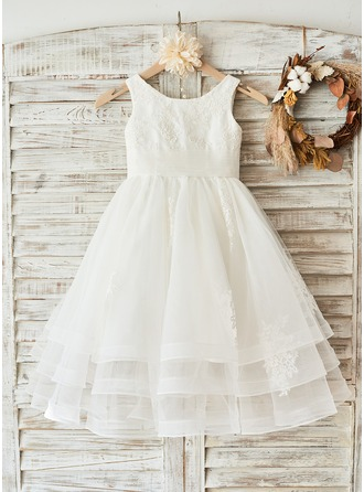 A-Line/Princess Knee-length Flower Girl Dress - Tulle Lace Sleeveless Scoop Neck