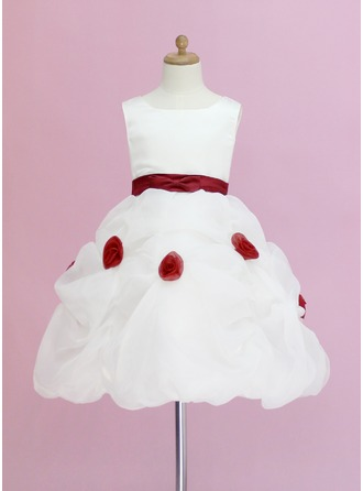 Ball Gown Knee-length Flower Girl Dress - Organza/Satin Sleeveless Scoop Neck With Ruffles/Sash/Flower(s)/Pick Up Skirt