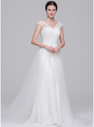 A-Line/Princess V-neck Court Train Detachable Tulle Lace Wedding Dress