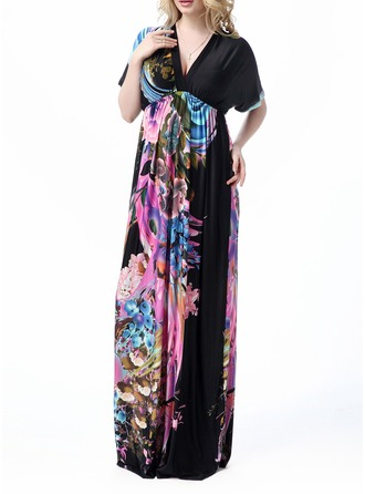 Silk With Print Maxi Dress
