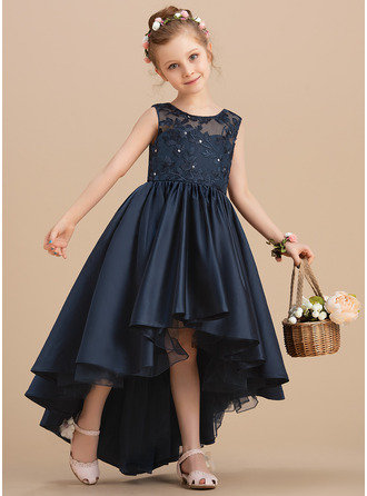Plesové/Princesový Asymetrické Flower Girl Dress - Satén Bez rukávů Scoop Neck S Luk