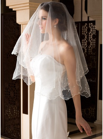 One-tier Waltz Bridal Veils With Pearl Trim Edge/Scalloped Edge