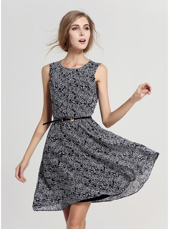 Polyester With Print Knee Length Dress
