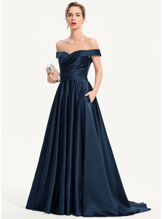 A-Line Off-the-Shoulder Sweep Train Satin Prom Dresses With Pockets