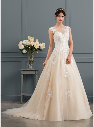 Scoop Neck Court Train Tulle Wedding Dress With Sequins