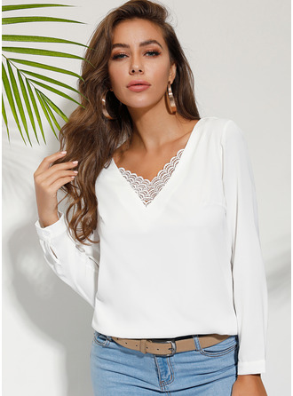 Long Sleeves Polyester V Neck Блузы