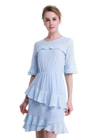 Lace With Stitching Above Knee Dress