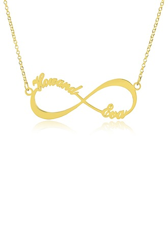 Custom 18k Gold Plated Silver Infinity Two Name Necklace Infinity Name Necklace