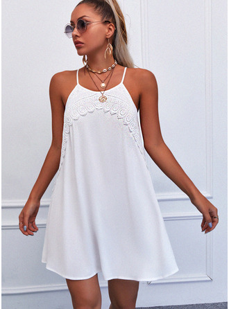 Lace Solid Shift Spaghetti Straps Sleeveless Midi Casual Type Dresses