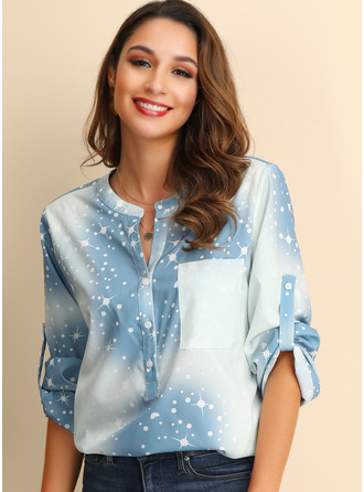 3/4 Sleeves Cotton Blends V Neck Blouses