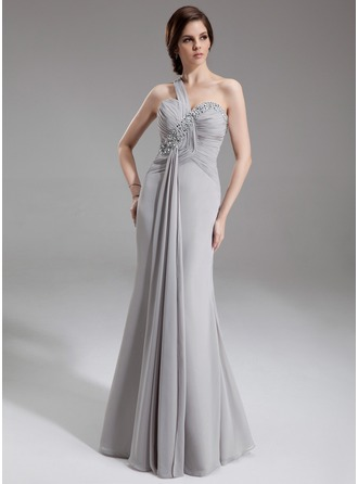 Trumpet/Mermaid One-Shoulder Floor-Length Chiffon Mother of the Bride Dress