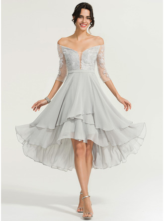 Off-the-Schulter Asymmetrisch Chiffon Cocktailkleid