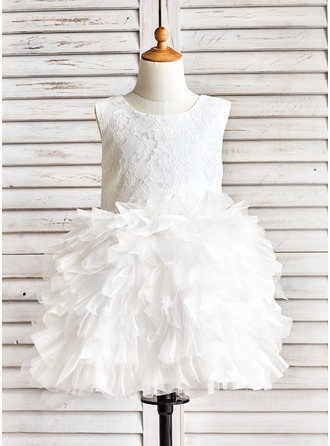 Knee-length Flower Girl Dress - Organza Lace Sleeveless Scoop Neck With Ruffles
