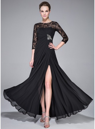 A-Line/Princess Scoop Neck Floor-Length Chiffon Evening Dress With Ruffle Beading Split Front