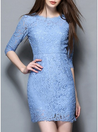 Lace With Lace/See-through Look Above Knee Dress