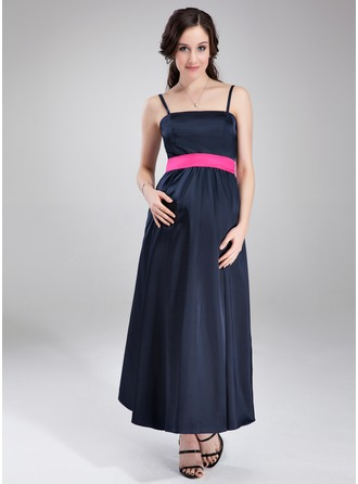 Empire Ankle-Length Charmeuse Charmeuse Maternity Bridesmaid Dress With Sash